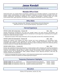 Typing Speed On Resume Office Clerk Impression And