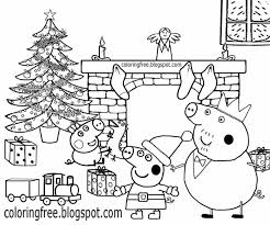 Xmas Tree Decorated Fire Place Happy Family Home Peppa Pig Christmas Coloring Pages Toy Train Gift 3