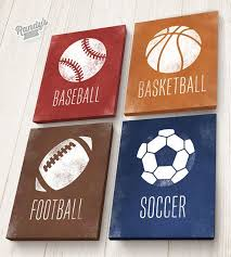 Boys Room Decor Sports On Stretched Canvas Basketball Baseball Soccer Football Set Of 4 Pick Your Colors