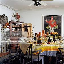 Halloween Dining Room Table Decorated For With Folk Art Both Contemporary And Vintage