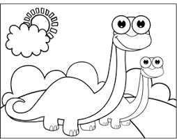 A Brontosaurus And His Baby Stand Smile In This Printable Coloring Page For Kids Who