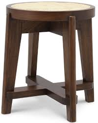 casa padrino luxury stool brown ø 44 5 x h 47 cm solid wood stool with rattan living room furniture