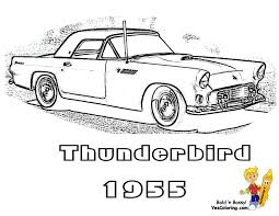1955 Ford Thunderbird Muscle Car To Print At YesColoring