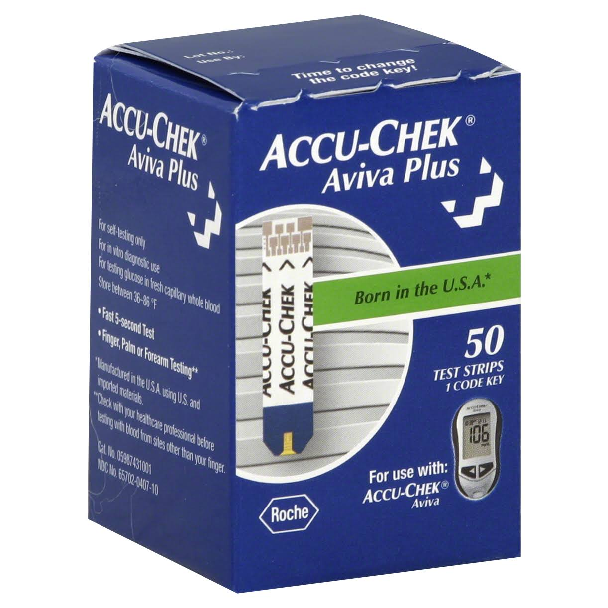 Accu-Chek Aviva Plus Blood Glucose Test Strips - 50 Count