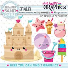 Sandcastle Clipart Graphic COMMERCIAL USE Kawaii Sand Castle
