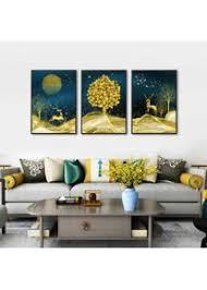 golden deer und baum wandmalereien poster wohnzimmer