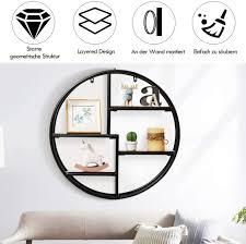 costway wandregal rund hängeregal mit 4 böden metallregal holz kreisförmiges bücherregal für schlafzimmer wohnzimmer küche und büro 55x55x11cm