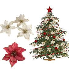 Ourwarm 20pcs Red Glitter Poinsettia Christmas Tree Ornaments Artificial Decorations Event Party Supplies