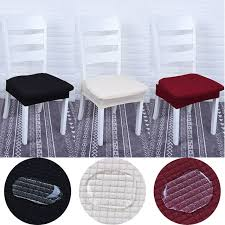Waterproof Solid Color Dining Room Chair Protector Cover Elastic Spandex Polyester Seat Durable Washable