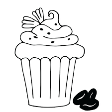 cake outline cake with coffee cupcake drawn in outline isolated on white stock vector image