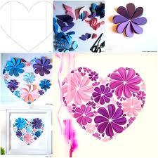 Paper Wall Art Easy Heart Flower 3d Flowers Tissue