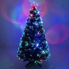3 Ft Fiber Optic Christmas Trees Black Fibre Tree With Multicoloured Led Lights 3ft