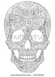 Skull Coloring Book For Adults Vector Illustration Anti Stress Adult Zentangle