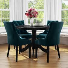 Small Round Dining Table In Black With 4 Teal Blue Velvet Chairs- Rhode  Island & Kaylee Small Round Ding Table In Black With 4 Teal Blue Velvet Chairs Rhode Island Kaylee Remarkable Navy Set Tufted Uptown Chair Silver Leaf Including Modern Lovely Pink Upholstered Gold Room Metal Frame Of 2 Extraordinary Covers Slipcovers A Rustic Elegant Thanksgiving Eclectic Living Room Home White Extendable 6 Vivienne Jenna Belinda Ding Chair Navy Khamila Fniture Store Kallekoponnet Kitchen Design Tiffany Slate Amusing