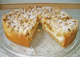 rhabarberkuchen mit pudding und schmand und streusel