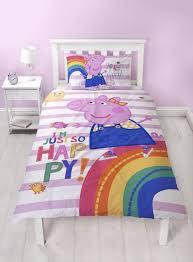 PEPPA PIG Hooray Single Bed Reversible Panel Quilt Set