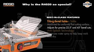 r4020 7 ridgid portable job site wet tile saw youtube