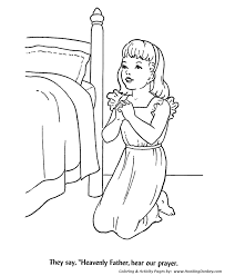 Children At Bedtime Prayer Coloring Activity Sheets