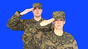Chroma Key Of Male Female Soldier Saluting