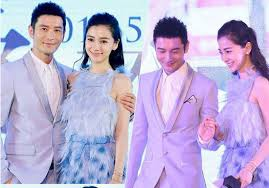 Hong Kong Actress Angelababy Yang Ying And Her Boyfriend Actor Huang Xiaoming Left Attend A Press Conference On Thursday April 9 2015 In Beijing