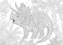 Adult Coloring Pages Dinosaur Triceratops Zentangle Doodle For Adults Digital Illustration Instant Download Print