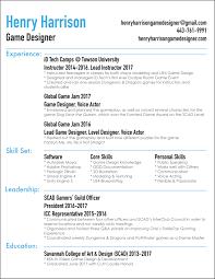 Resumes Resume Henry Harrison Game Designer