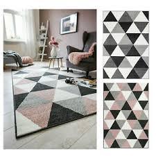 details zu teppich kurzflor grau rosa muster geometrisch modern wohnzimmer schlafzimmer
