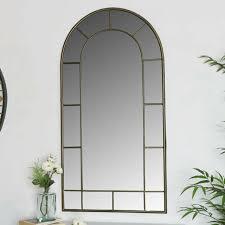 groß rustikal gold metall rahmen bogen fenster stil wand spiegel wohnzimmer