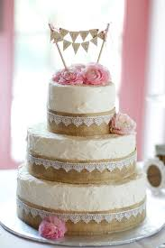 Rustic Burlap White Pink Wedding Cake If We Have A