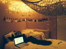Bedroom Hipster Teen Decorating Ideas Yellow Hanging String Led Lights Ceiling Lamps Black Fur