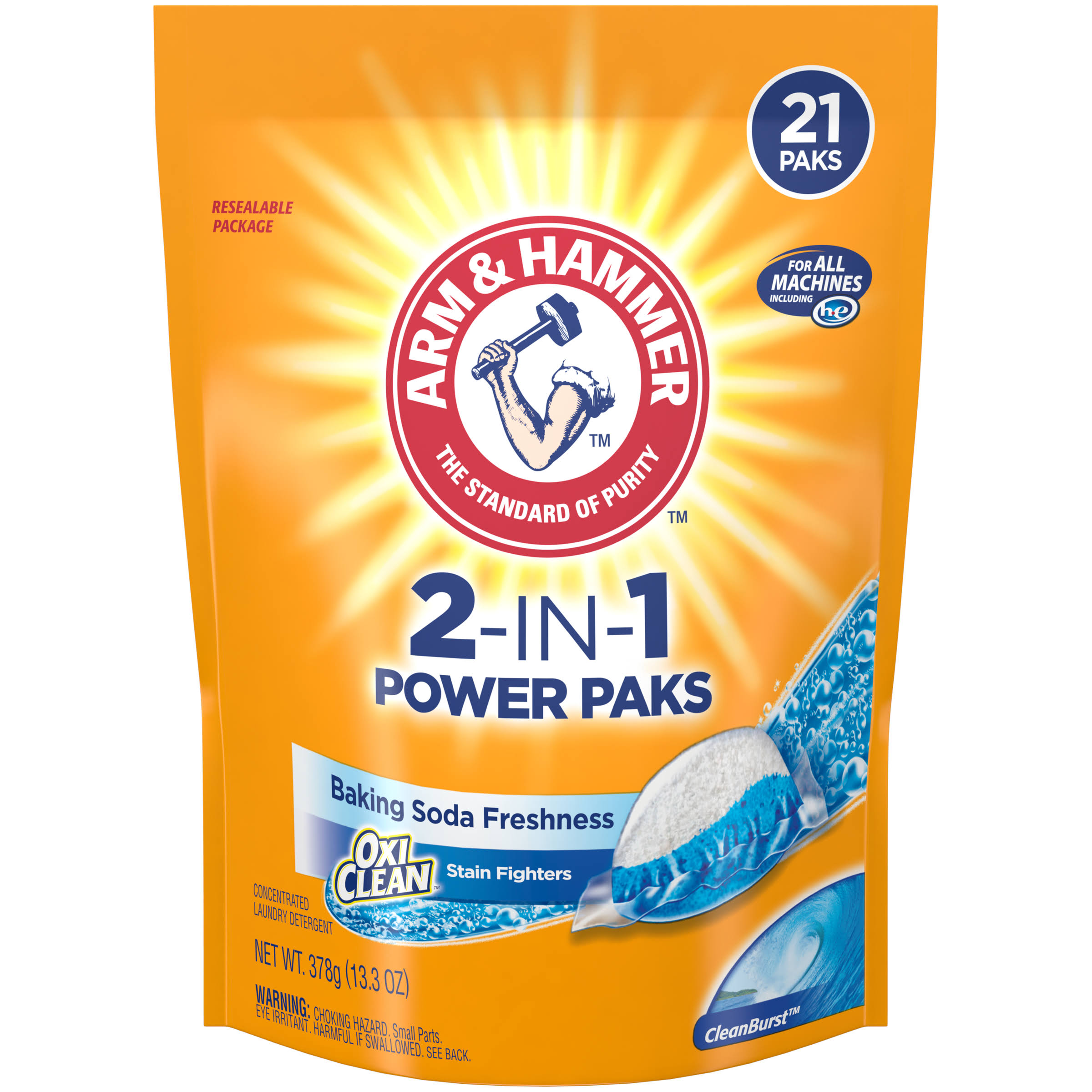 Arm and Hammer Plus Oxiclean Crystal Burst Ulta Power Detergent Power Paks - 21ct