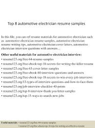 Top 8 Automotive Electrician Resume Samples