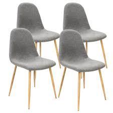 deuba 4er set esszimmerstühle küchenstühle gepolstert 120 kg belastbar stoff bezug wohnzimmerstuhl design farbe grau
