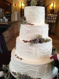 Love Wedding Cakes White Frosted Cake With Mountains And Pine Trees Perfect For An Outdoor Colorado