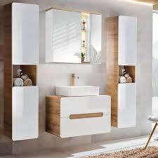 badezimmer set luton 56 hochglanz weiß wotaneiche mit keramik waschti