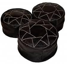 design pouf marocain en cuir noir
