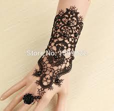 2PCS Lot Fashion Vintage Black Lace Tattoo Finger Wrist Bracelet Gloves Costume Dress Accessories For