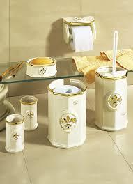 badezimmeraccessoires wc garnitur eckig creme gold