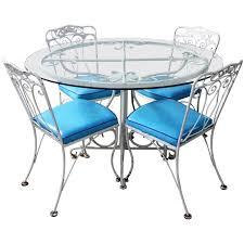 Salterini Style Wrought Iron Patio Set Round Table Four Chairs Turquoise  Seats