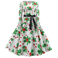 Amazoncom 20182019 New Christmas DressWomens Vintage Print Long