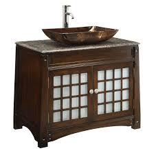 adelina 38 inch vessel sink bathroom vanity dark granite counter