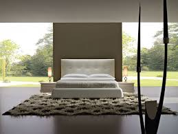 BedroomFabulous Nature Theme Modern Bedroom Design Ideas With Comfortable White Bed Frame On Combined Cozy Headboard And Nice Two Nighstand Table Also Soft