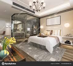 100 Modern Luxury Bedroom Rendering Suite Bathroom Stock Photo
