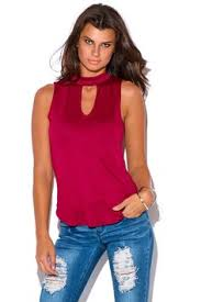 Sweet Nothings Burgundy Wine Red Wines Tops Junior Tank High Neck Cut Outs