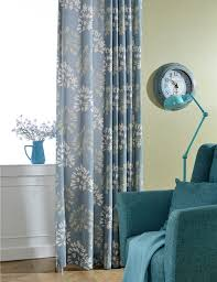 American Rustic Style Blue Curtains Room Divider Floral Kitchen Door Polyester Cotton Printed Curtain Fabric