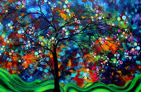 Abstract Art Original Landscape Painting Bold Colorful Design