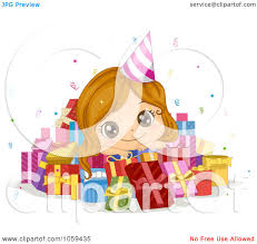 Royalty Free Vector Clip Art Illustration of a Cute Birthday Girl In A Pile Presents by BNP Design Studio