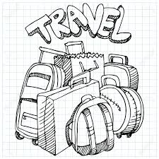 An Image Of A Travel Bag Drawing Stock Vector