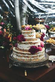 Cozy Backyard Wedding In New York Naked Cake
