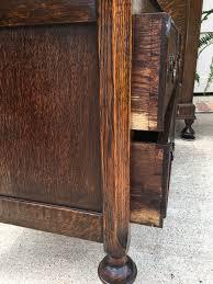 Tiger Oak Dresser Chest by Antique English Carved Tiger Oak Jacobean 2 Drawer Chest Table